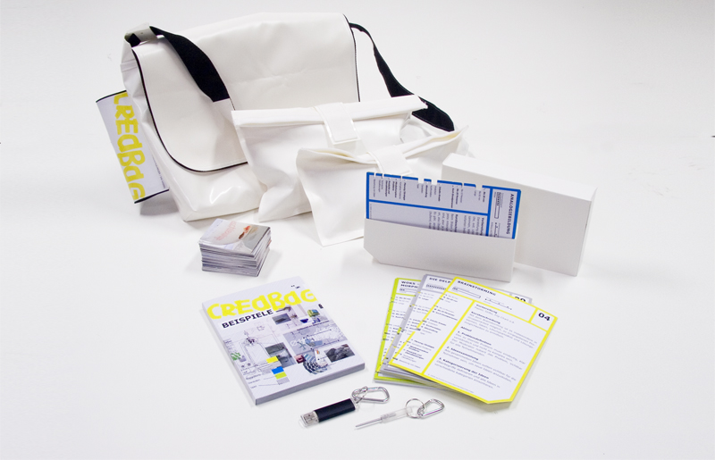 """Methodenkoffer""- a concept for Technoform. We produced 4 of the ""Creative Bags"" that were filled with creative techniques and materials. www.technoform.de"